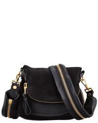 Черная замшевая сумка через плечо