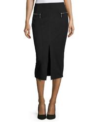Черная замшевая юбка-карандаш