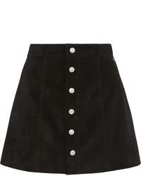 Черная замшевая юбка на пуговицах