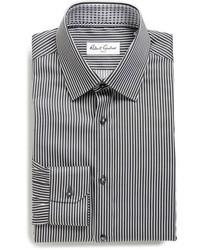 Черная классическая рубашка в вертикальную полоску