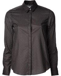 Черная классическая рубашка в горошек