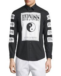 Черная классическая рубашка с принтом
