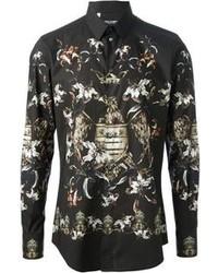 Черная классическая рубашка с цветочным принтом