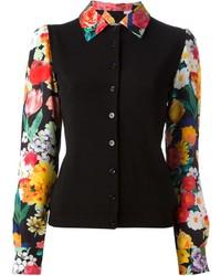 Женская черная классическая рубашка с цветочным принтом от Moschino