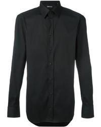 Мужская черная классическая рубашка от Emporio Armani