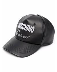 Мужская черная кожаная бейсболка с принтом от Moschino