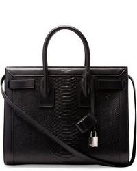 Черная кожаная большая сумка со змеиным рисунком