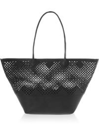 Черная кожаная большая сумка с вырезом