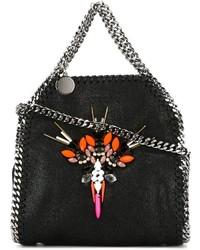 Черная кожаная большая сумка с украшением