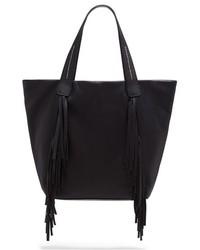 Черная кожаная большая сумка c бахромой