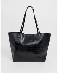 Черная кожаная большая сумка от ASOS DESIGN