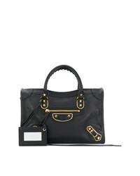 Черная кожаная большая сумка от Balenciaga