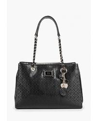 Черная кожаная большая сумка от GUESS