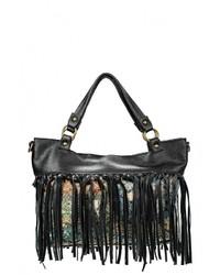 Женская черная кожаная большая сумка от Moronero