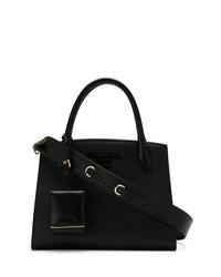 Черная кожаная большая сумка от Prada