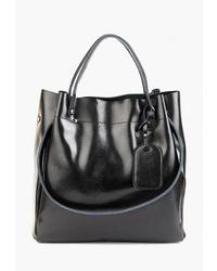 Черная кожаная большая сумка от Roberto Jolini