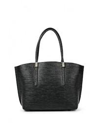 Черная кожаная большая сумка от Tom & Eva