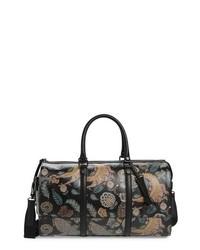 Черная кожаная дорожная сумка с принтом