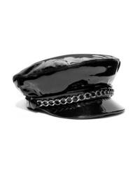 Женская черная кожаная кепка с украшением от Eugenia Kim