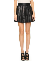 Черная кожаная короткая юбка-солнце от Alice + Olivia