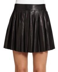 Женская черная кожаная короткая юбка-солнце от Alice + Olivia