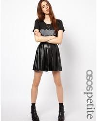 Черная кожаная короткая юбка-солнце от Asos