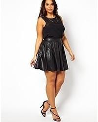 Черная кожаная короткая юбка-солнце от AX Paris