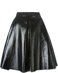 Черная кожаная короткая юбка-солнце от Marc Jacobs