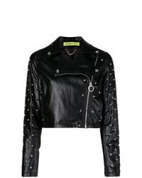Женская черная кожаная косуха с шипами от Versace Jeans
