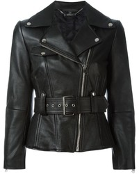 Женская черная кожаная косуха от Alexander McQueen