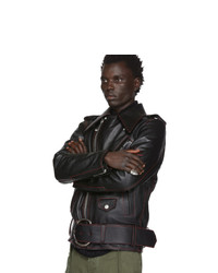 Мужская черная кожаная косуха от Loewe