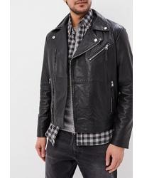 Мужская черная кожаная косуха от Calvin Klein Jeans