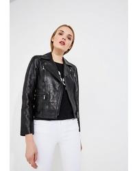 Женская черная кожаная косуха от Karl Lagerfeld