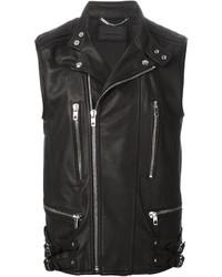 Черная кожаная куртка без рукавов