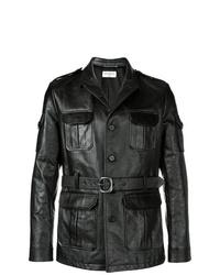 Мужская черная кожаная куртка в стиле милитари от Saint Laurent