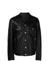 Мужская черная кожаная куртка-рубашка от Balmain