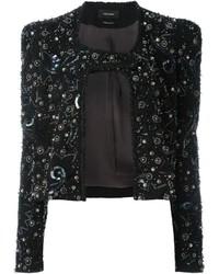 Женская черная кожаная куртка с украшением от Isabel Marant