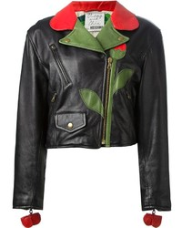 Черная кожаная куртка с цветочным принтом