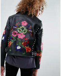 Женская черная кожаная куртка с цветочным принтом от Asos