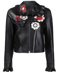 Женская черная кожаная куртка с цветочным принтом от Fendi