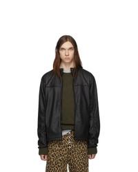 Черная кожаная куртка харрингтон