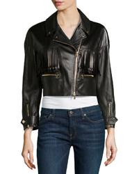 Черная кожаная куртка c бахромой