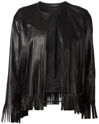 Женская черная кожаная куртка c бахромой