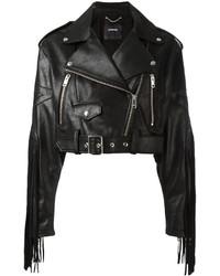 Женская черная кожаная куртка c бахромой от Diesel