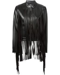 Женская черная кожаная куртка c бахромой от DKNY