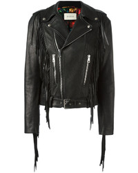 Женская черная кожаная куртка c бахромой от Gucci