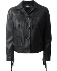 Женская черная кожаная куртка c бахромой от Just Cavalli