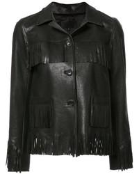 Женская черная кожаная куртка c бахромой от Nili Lotan
