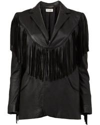 Женская черная кожаная куртка c бахромой от Saint Laurent