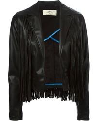Женская черная кожаная куртка c бахромой от Urban Code